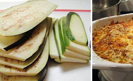 Plakken aubergine en courgette klaargemaakt in de oven