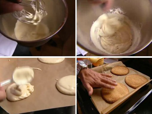 Eierkoek maken: eieren kloppen met suiker, bloem doorroeren, uitlepelen op bakpapier en goudbruin bakken in een zeer hete oven