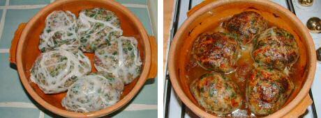 Gehaktballen met snijbiet recept, gebraden in de oven