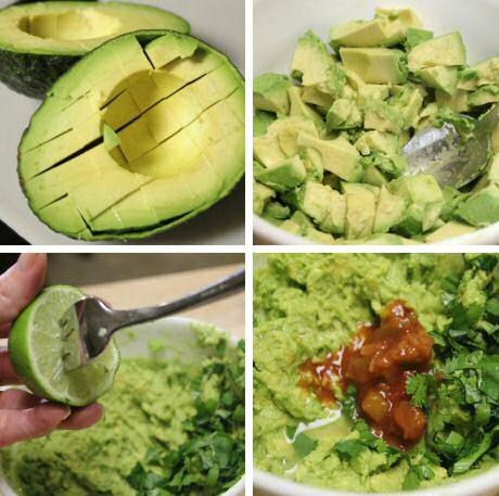 Guacamole recept met avocado, limoen, korianderblaadjes, peper en zout, look en wat tomatensalsa uit een potje.