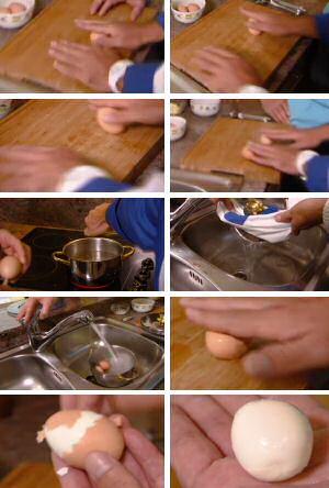 Stap voor stap foto's om een hard gekookt ei te koken met kakelverse eieren dat toch makkelijk te pellen is