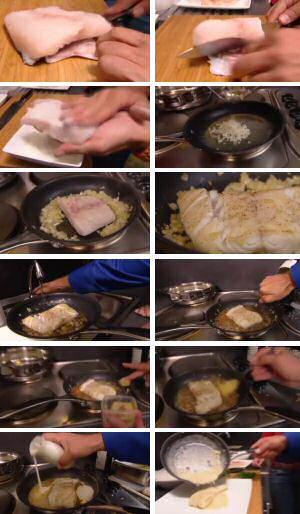 Stap voor stap foto's om kabeljauw te bakken en met zelfgemaakte mosterdsaus te overgieten