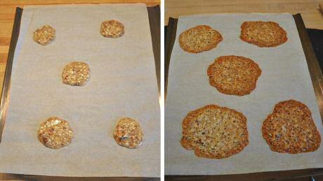 Lekker en makkelijk recept om kletskoppen koekjes te bakken: bak ze ver genoeg uit elkaar zodat ze mooi kunnen uitvloeien