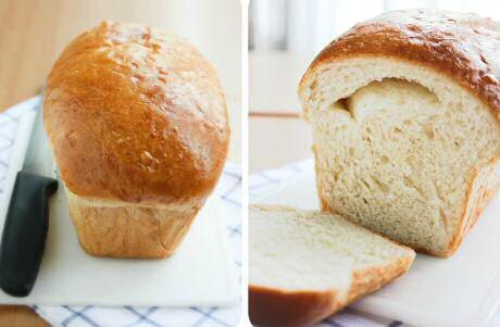 Vers gebakken en gesneden melkbrood: recept met bloem, gist, melk, eiderdooier, boter, suiker en zout.